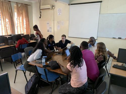 Students participating in a business simulation